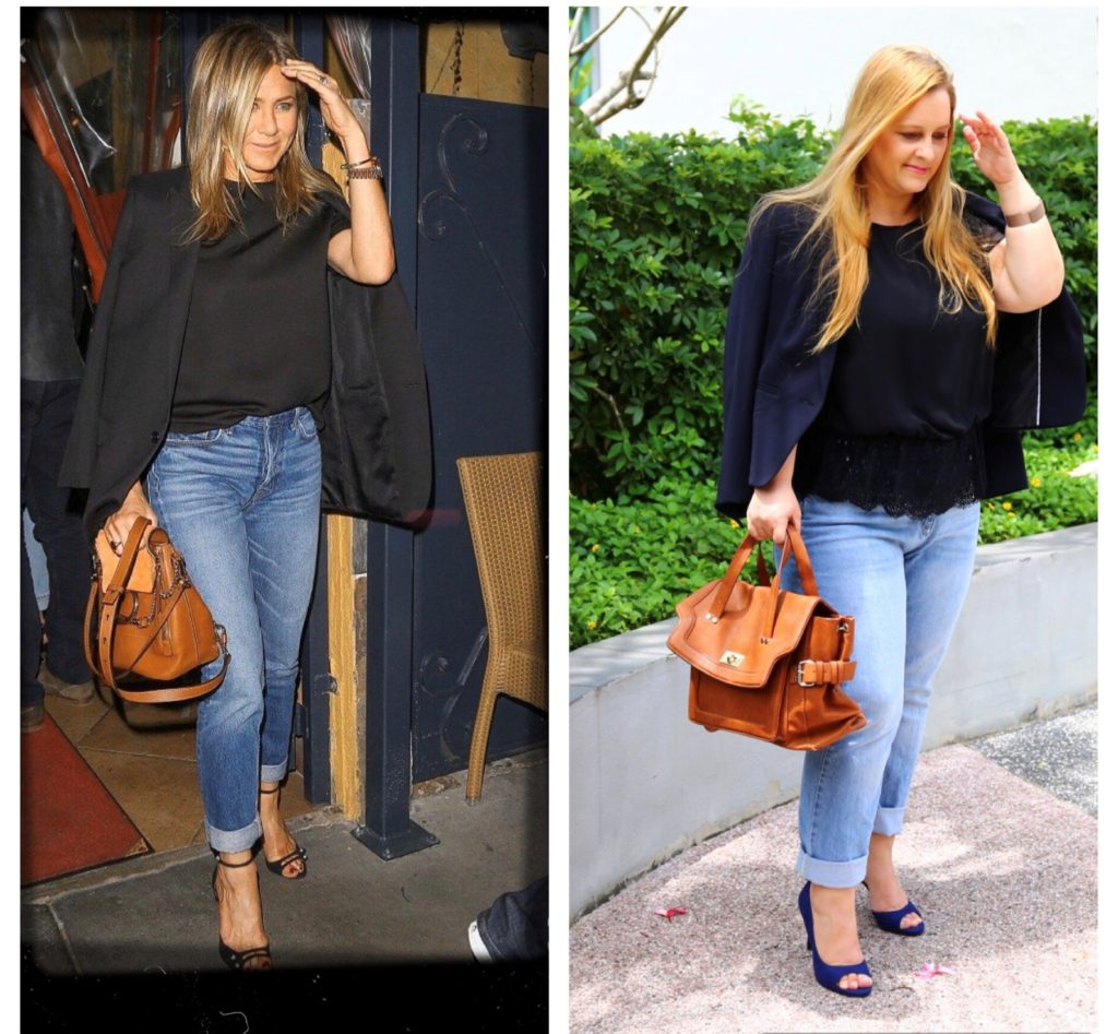Recreation of look and of actual picture of Jennifer Aniston leaving the restaurant after the dinner with Sandra Bullock.