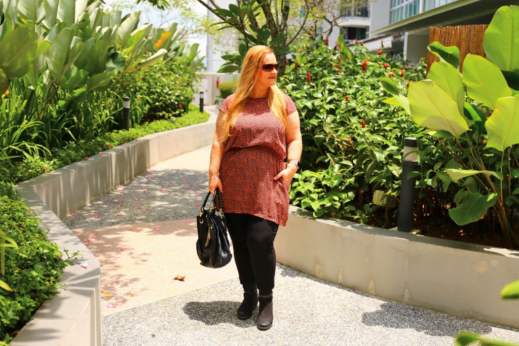 Plus size thrifting in Singapore - animal print tunic