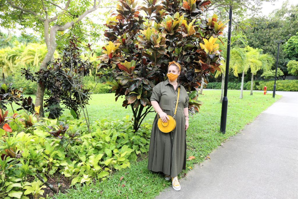 Olive green maxi dress form Zara in Gardens by the Bay, Singapore.