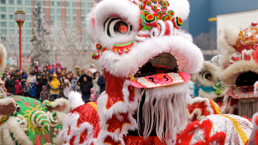 Lion Dance as a part of street performance during Chinese New Year.